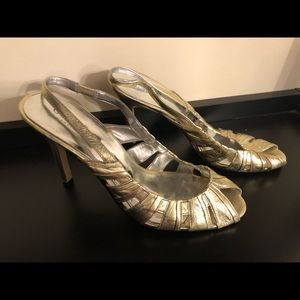 Gold sexy 2 inch heel sandals from Guess